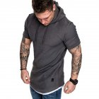 Men Summer Simple Solid Color Hooded Breathable Sports T-shirt Dark gray_XL