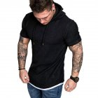 Men Summer Simple Solid Color Hooded Breathable Sports T-shirt black_2XL