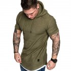 Men Summer Simple Solid Color Hooded Breathable Sports T shirt Army Green L