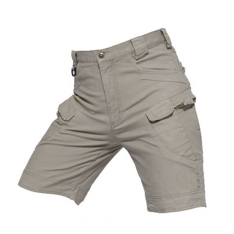 Men Summer Sports Pants Wear-resistant Overall Fifth Pants  khaki_L