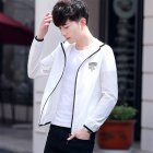 Men Sunscreen Coat Anti-UV Solid Color Windproof Fashion Jacket for Outdoor Sports white_M