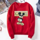 Men Sweatshirt Cartoon Micky Mouse Autumn Winter Loose Couple Wear Student Pullover Red S
