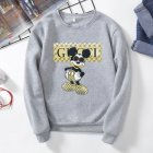 Men Sweatshirt Cartoon Micky Mouse Autumn Winter Loose Couple Wear Student Pullover Gray_XXL
