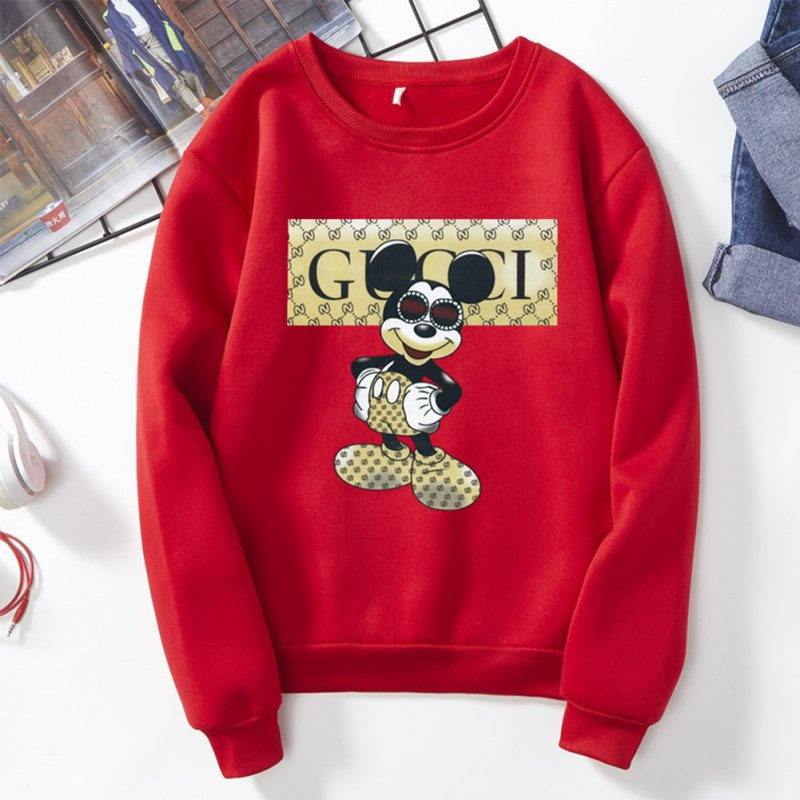 Men Sweatshirt Cartoon Micky Mouse Autumn Winter Loose Couple Wear Student Pullover Red_XL