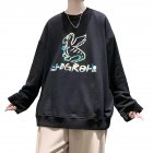 Men Sweatshirts Round Collar fashion Oversized  Small Dinosaur Print Long Sleeve Shirt Black_L