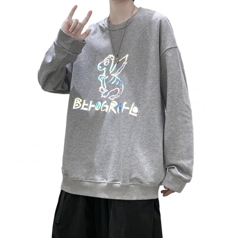 Men Sweatshirts Round Collar fashion Oversized  Small Dinosaur Print Long Sleeve Shirt Gray _L
