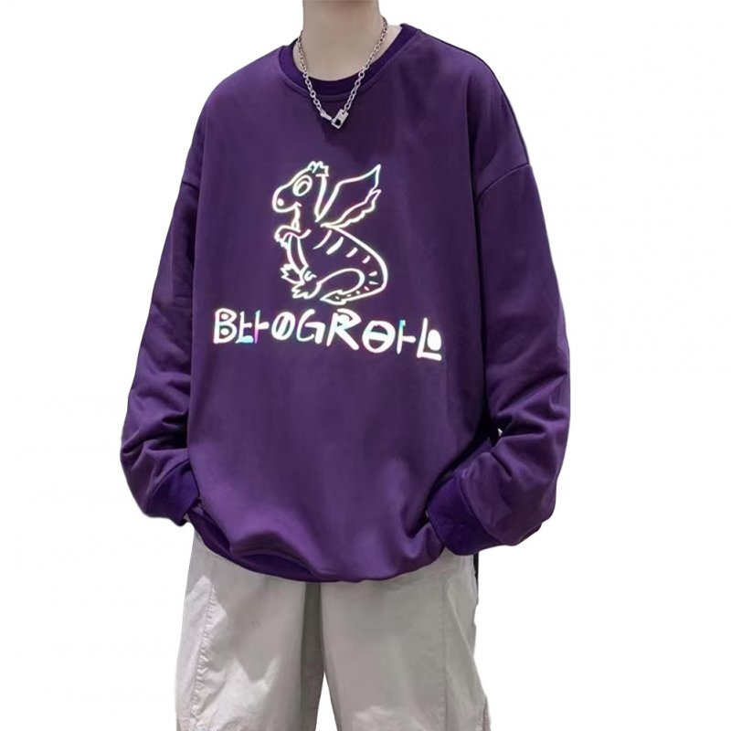 Men Sweatshirts Round Collar fashion Oversized  Small Dinosaur Print Long Sleeve Shirt Purple_M