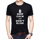 Men T-shirt Summer Tops Short Sleeve Letter Printing Crew Neck Slim Male Base Shirt Black_L