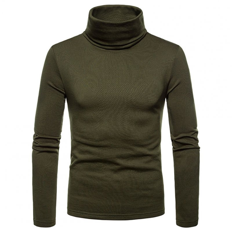 Men Cotton Turtleneck Sweater Stretch Shirt