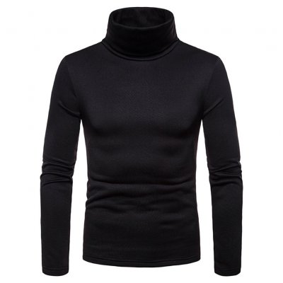 Men Thermal High Neck Sweaters - Black M