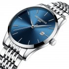 Men Thin Fine Steel Band Quartz Movement Calendar Watch Blue dial silver band