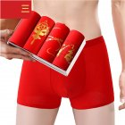 Men Underwear Cotton Red Underwear Combination three_3XL [75-90KG]
