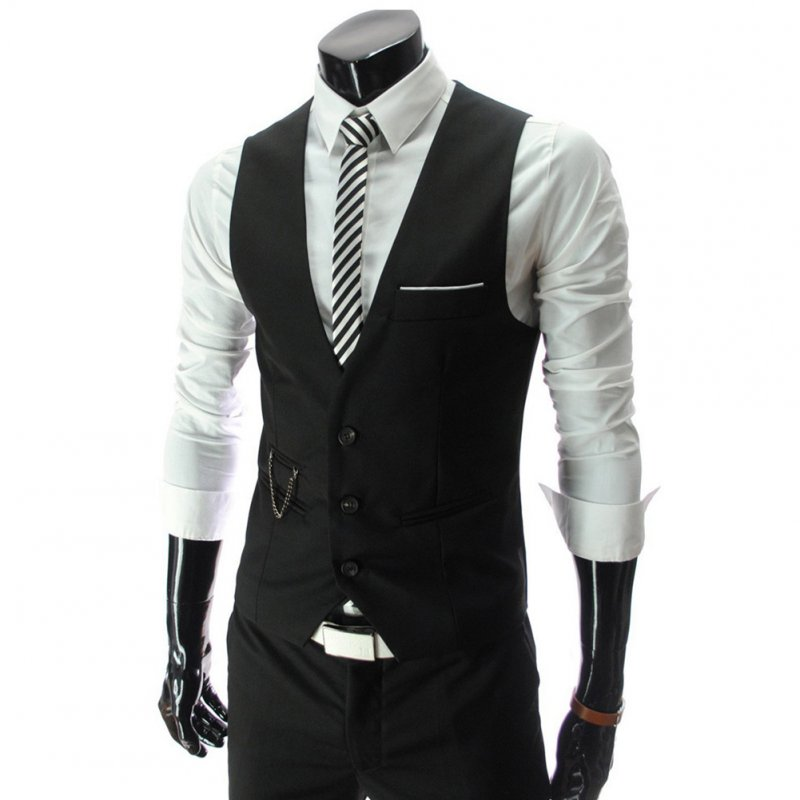Men V-neck Fashion Slim Fit Suit Solid Color Casual Waistcoat black_L