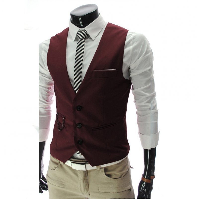 Men V-neck Fashion Slim Fit Suit Solid Color Casual Waistcoat Red wine_L