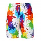 Men Vivid Colorful Large Size Beach Shorts Breathable Quick-drying Fashion Shorts as shown_XL