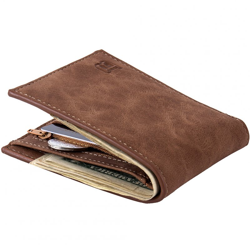 Men Wallets with Coin Bag Zipper Small Money Purses Money Clip Wallet Gift Coffee color