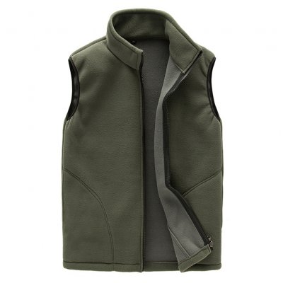 Men Warm Full Zip Casual Fleece Vest -Green M