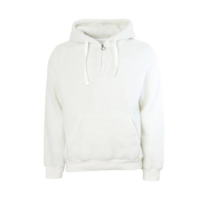 Men Warm Solid Color Plush Hooded Sweatshirt with Zipper