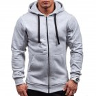 Men Warm Solid Color Zipper Slim Fleeced Hooded Sweatshirt light gray L