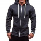 Men Warm Solid Color Zipper Slim Fleeced Hooded Sweatshirt Dark gray XL