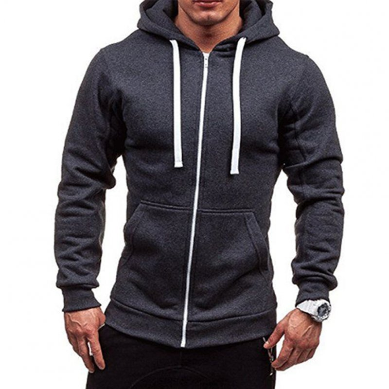 Men Warm Solid Color Zipper Slim Fleeced Hooded Sweatshirt Dark gray_XL