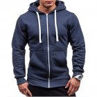 Men Warm Solid Color Zipper Slim Fleeced Hooded Sweatshirt Navy M