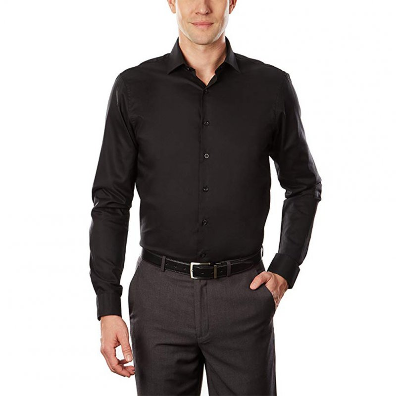 Men White Slim Antiwrinkling Business Long Sleeve Shirt  black_39