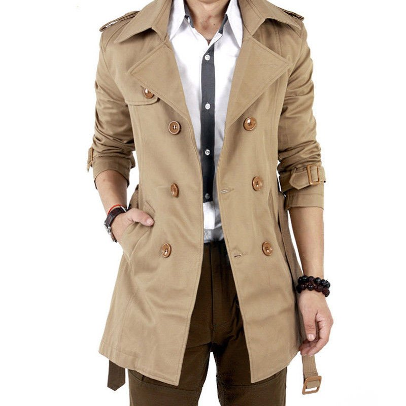 Men Windbreaker Long Fashion Jacket with Double-breasted Buttons Lapel Collar Coat Khaki_L