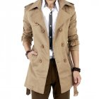 Men Windbreaker Long Fashion Jacket with Double-breasted Buttons Lapel Collar Coat Khaki_S
