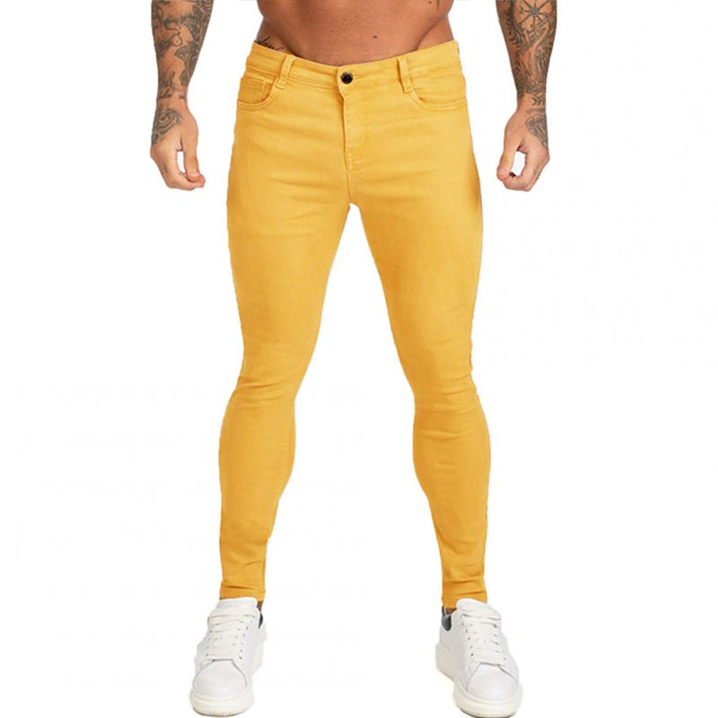 Men Winter Jeans Middle Waist Trousers Pants for Autumn Winter  Yellow_L
