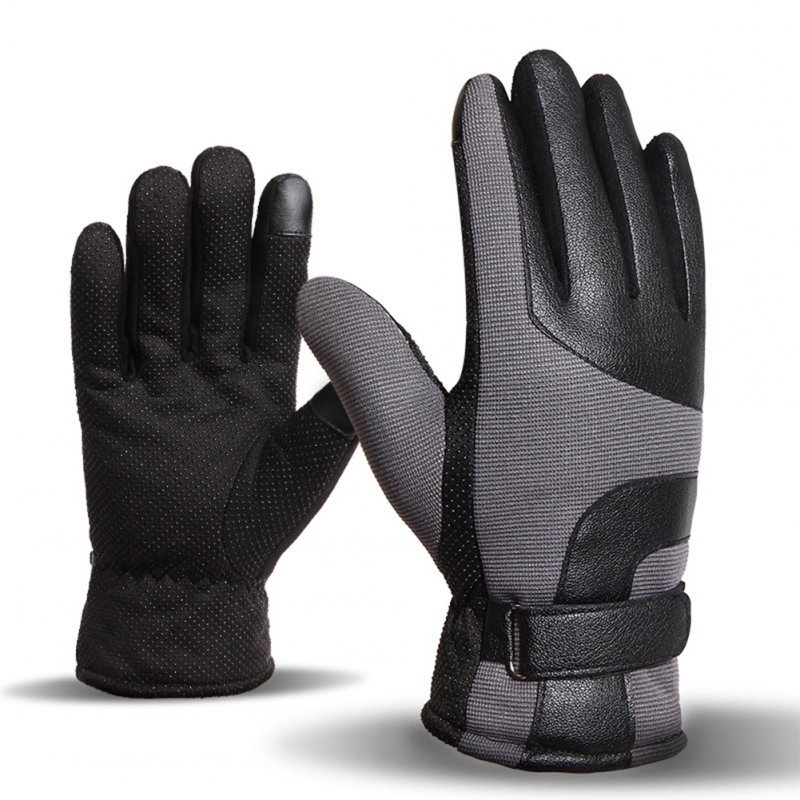 Men Winter Outdoor Windproof Anti-Slip Touch Screen Warm Gloves for Riding Cycling Motorcycle Hiking Camping Skiing Gray