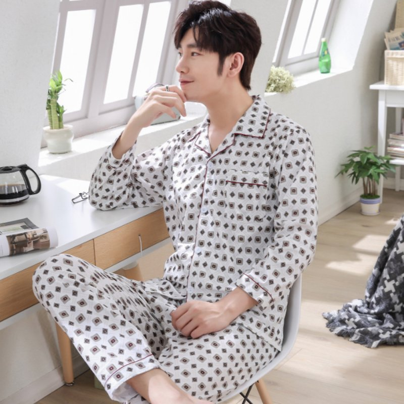 Men Winter Spring and Autumn Cotton Long Sleeve Casual Home Wear Pajamas Homewear 8807 red_XL