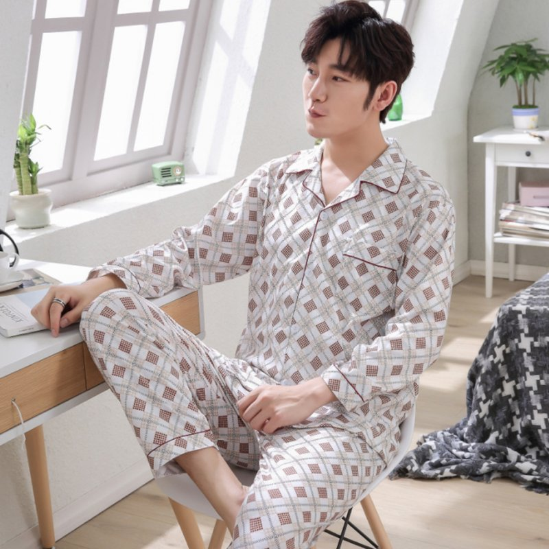 Men Winter Spring and Autumn Cotton Long Sleeve Casual Home Wear Pajamas Homewear 8819 red_XXL