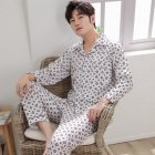 Men Winter Spring and Autumn Cotton Long Sleeve Casual Home Wear Pajamas Homewear 8824 red XL