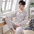 Men Winter Spring and Autumn Cotton Long Sleeve Casual Home Wear Pajamas Homewear 8819 red XL