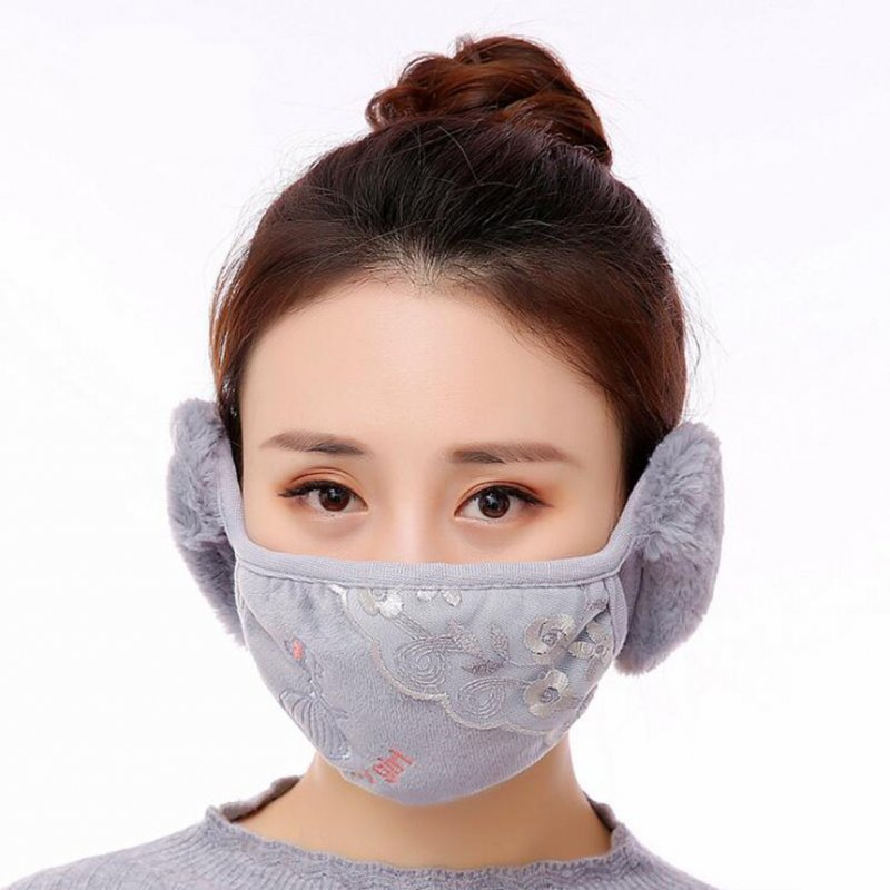 Men Women 2 in 1 Winter Fashion Warm Lace Protect Ears Cycling Windproof Anti-Dust Mouth Face Mask gray