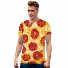 Men Women 3D Digital Gourmet Print Short-sleeved Round Collar T-shirt