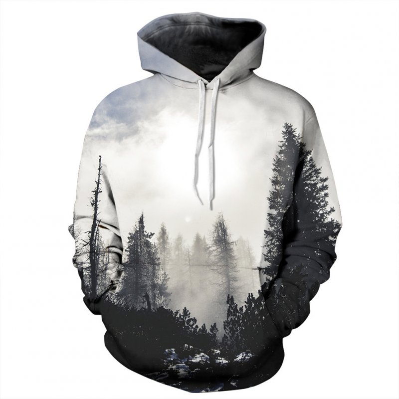 Men/Women 3D Print Black and White Forest Hoodie Fashionable Hooded Pullover Top Black and white forest_S