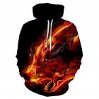 3D Print Fire Wolf Hoodie Pullover