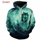 Men Women 3D Starry Green Wolf Printing Baseball Uniform Hooded Sweatshirts for Lovers Couples green_3XL