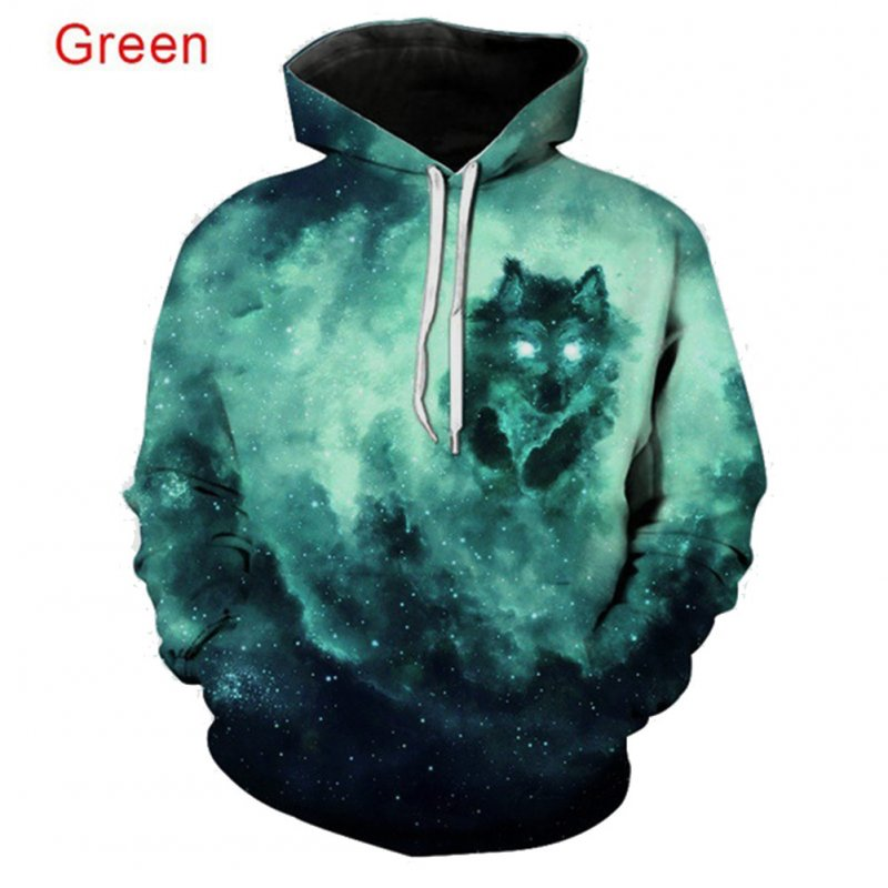 Men Women 3D Starry Green Wolf Printing Baseball Uniform Hooded Sweatshirts for Lovers Couples green_M