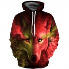 Men Women 3D Wolf Pattern Printing Hooded Sweatshirt Two-color wolf red_XL