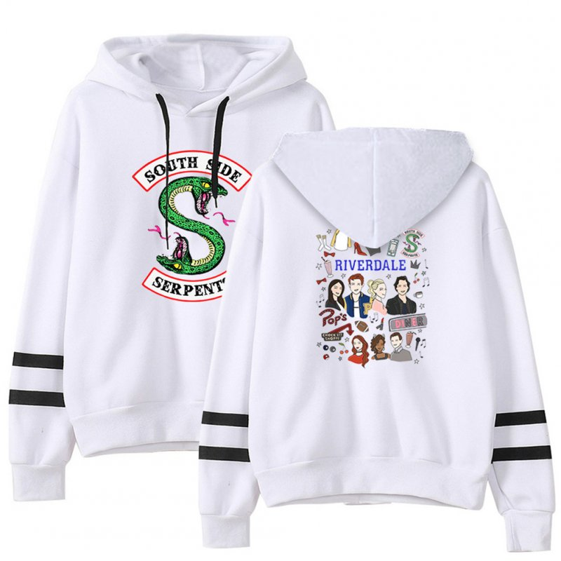 Men Women American Drama Riverdale Fleece Lined Thickening Hooded Sweater White E_XXL