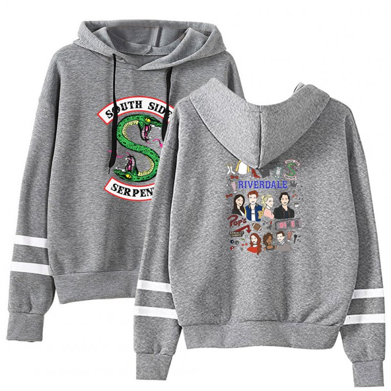 Men Women American Drama Riverdale Fleece Lined Thickening Hooded Sweater Gray E_M