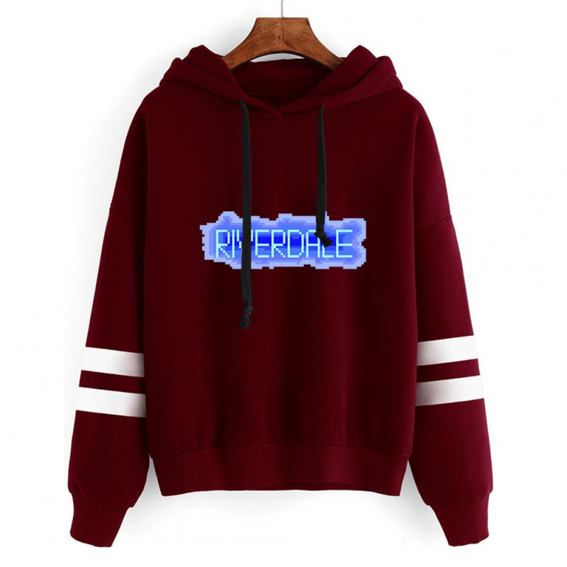 Men Women American Drama Riverdale Fleece Lined Thickening Hooded Sweater Wine red C_L