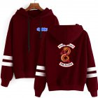 Men Women American Drama Riverdale Fleece Lined Thickening Hooded Sweater Burgundy E XL