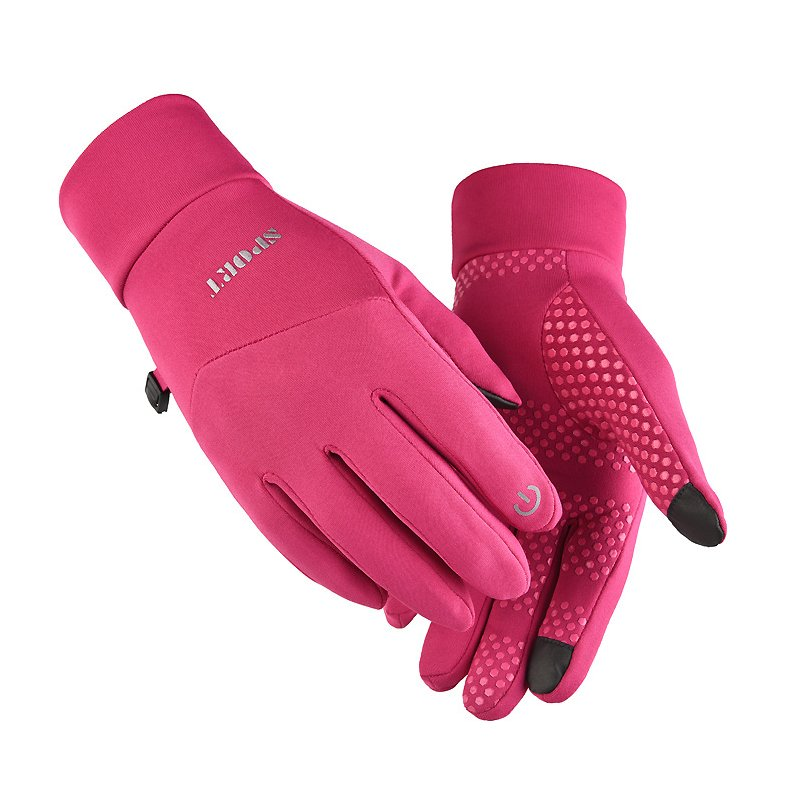 Men Women Anti Slip Windproof Gloves Autumn Winter Waterproof Thermal Warm Touchscreen Riding Skiing Gloves Pink_M