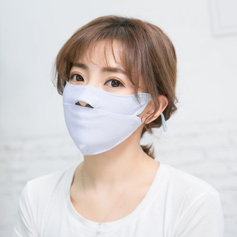 Men Women Anti-haze Mask Riding Ice Silk Dust-proof Suncreeen Breathable Mask Ice silk light blue_One size