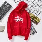 Men Women Autumn Winter Hooded Loose Printing All Match Fleece Sweatshirts Top for Students red M