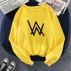 Men Women Autumn Winter Loose Thicken Fleece Round Collar Sweatshirts Coat for Students Lovers yellow_XL